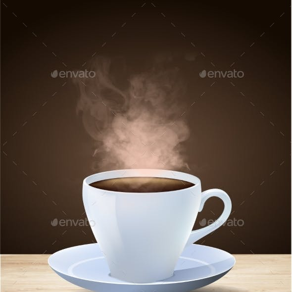 Hot Steaming Cup of Espresso Coffee