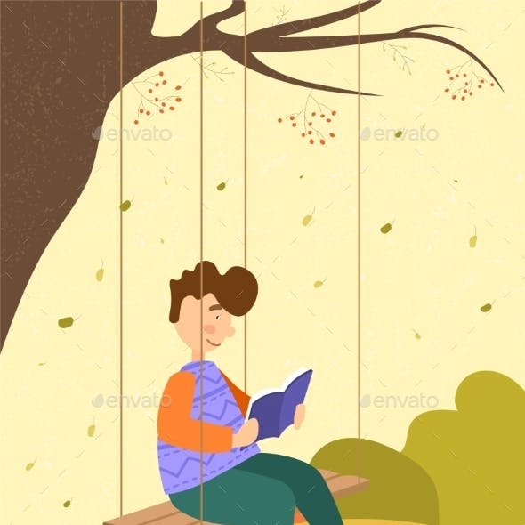 Boy Sitting on a Wooden Swing Reading a Book