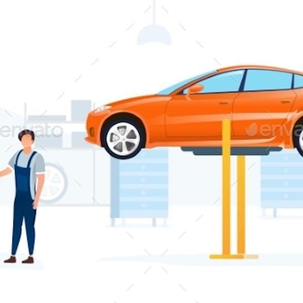 Car Service Concept with Car on Hoist