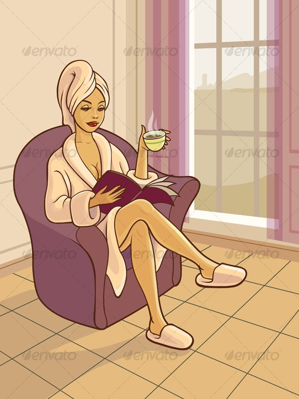 Girl Relaxing in a Chair - People Characters