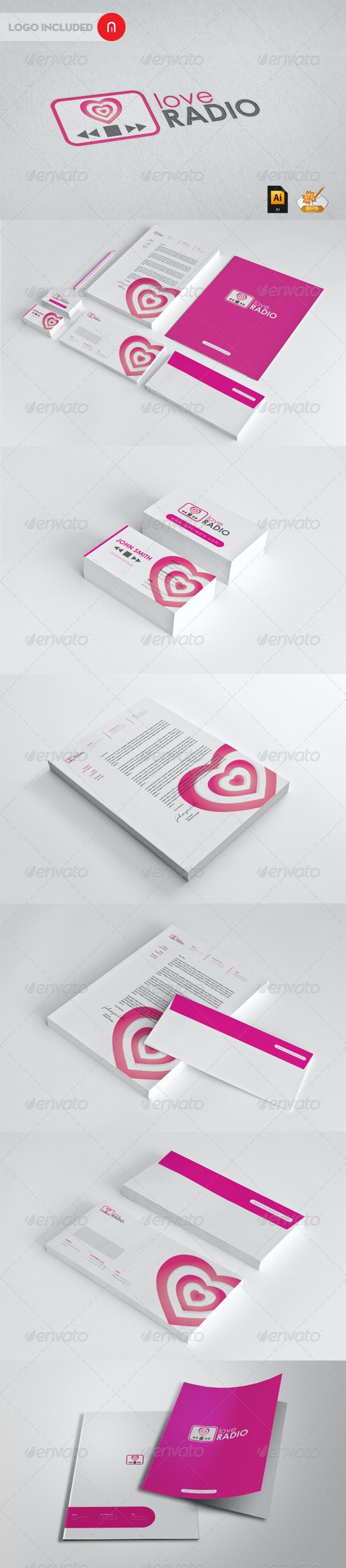 Stationary & Identity - Radio Love - Stationery Print Templates