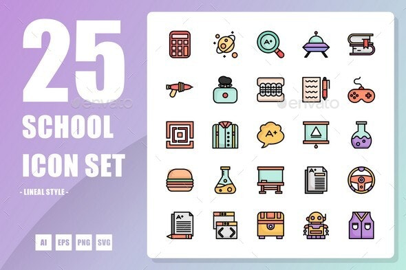 School Lineal Icon - Objects Icons