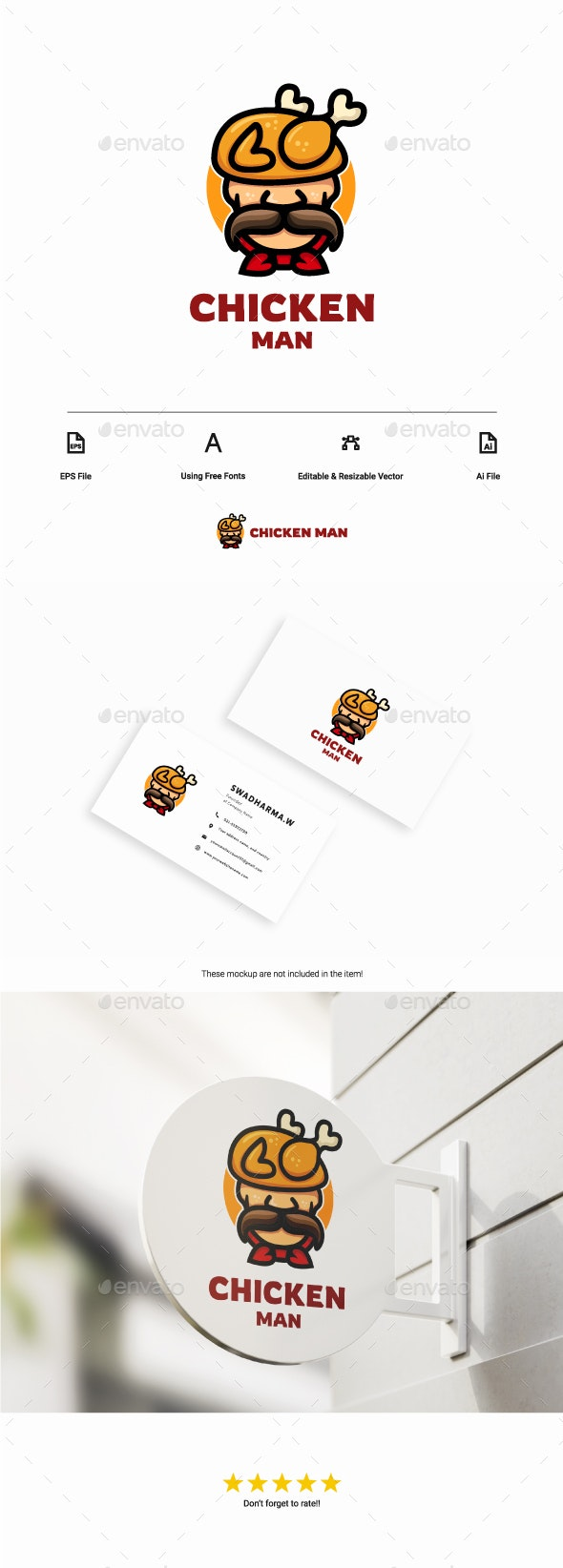 Chicken Man - Food Logo Templates