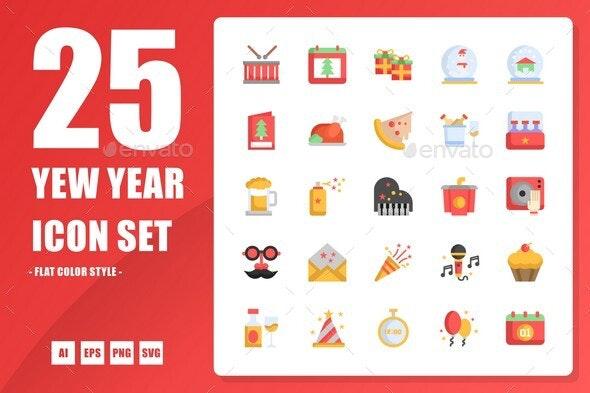 New Year Flat Icon - Seasonal Icons