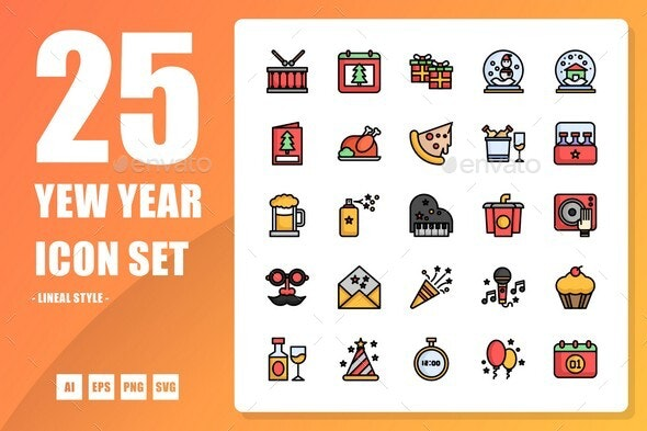 New Year Lineal Icon - Seasonal Icons
