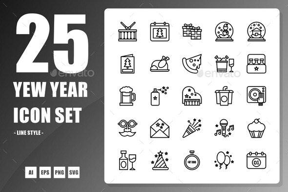 New Year Line Icon - Seasonal Icons