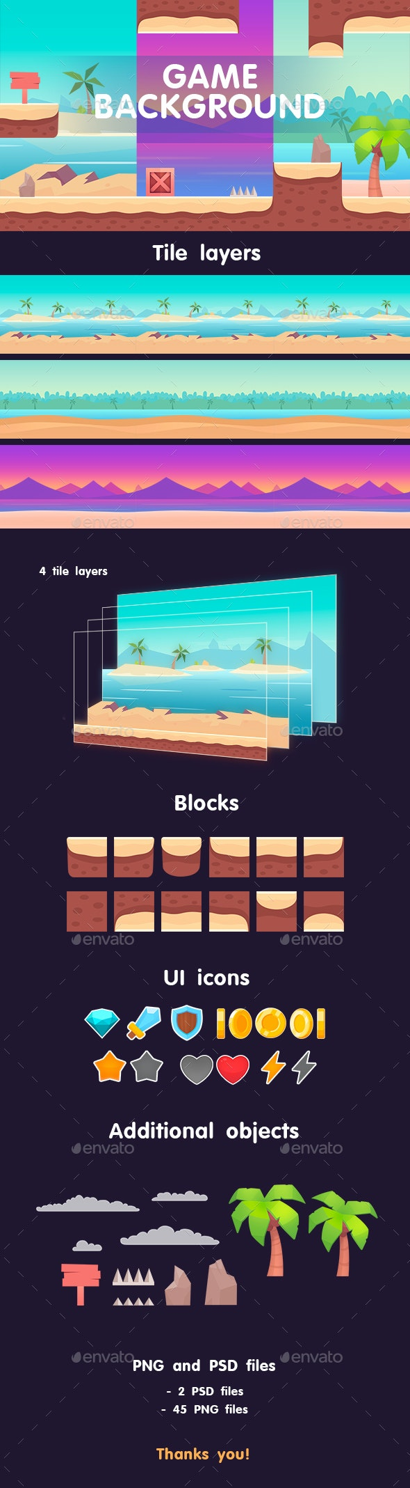 Beach Background Game - Backgrounds Game Assets
