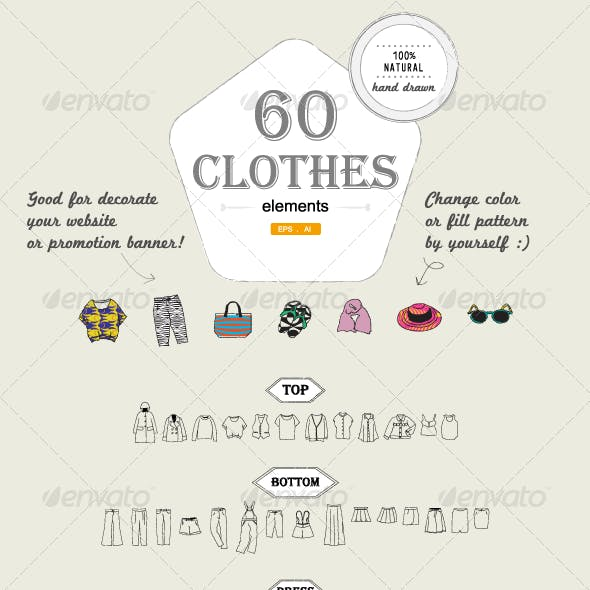 60 Hand-drawn Clothes elements