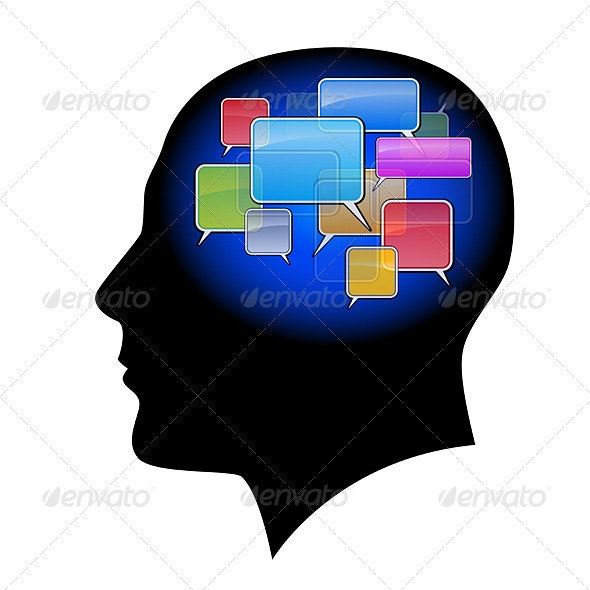 The man in the head with sms - Concepts Business