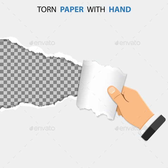 Torn Hole on Paper with Hand - Borders Decorative