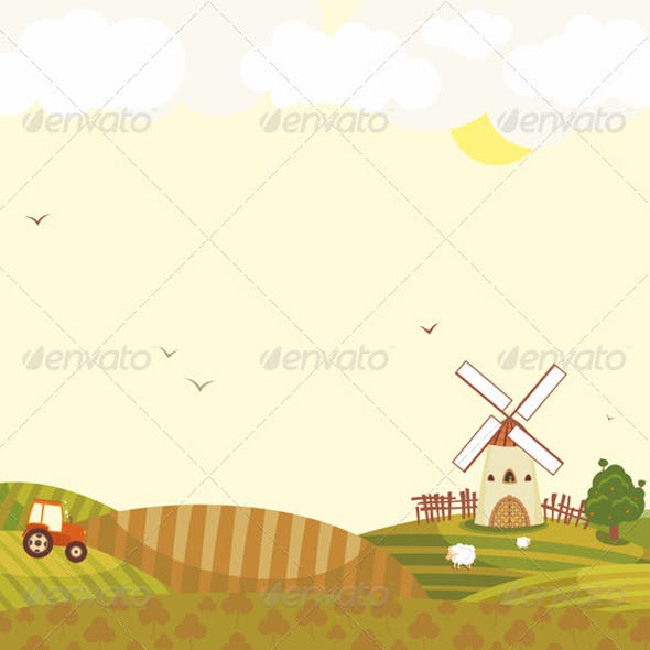 Rural Landscape Windmill Tractor Field Sheep