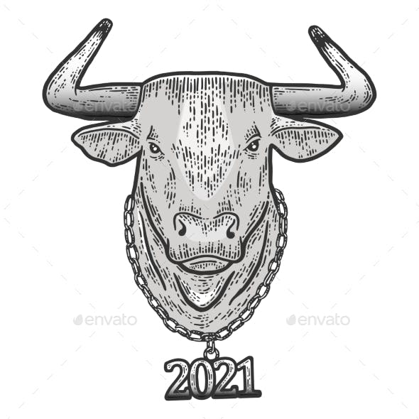 New Year Steel Bull Head with Chain 2021