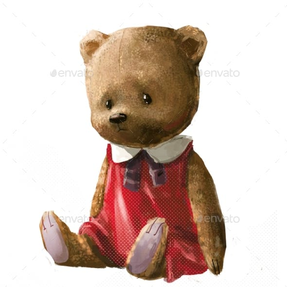 Cute Cartoon Teddy Bear with Red Dress