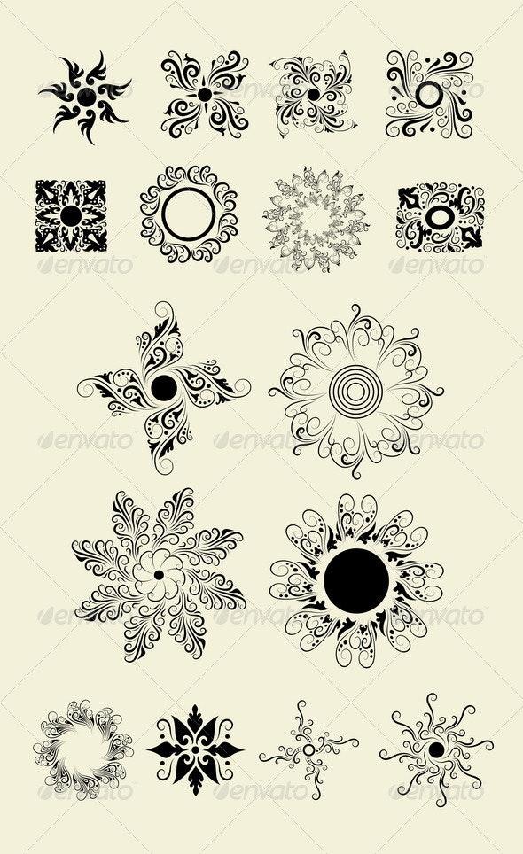 Flowers 2 (My 16 floral elements vector) - Flourishes / Swirls Decorative