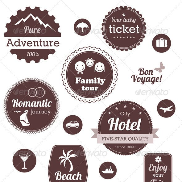 Travel And Vacation Emblems Set