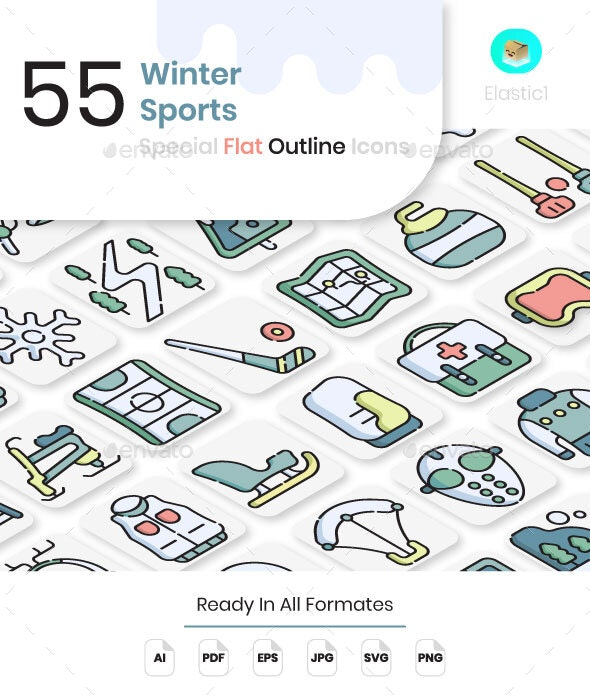 Winter Sport Flat Outline Icons - Seasonal Icons