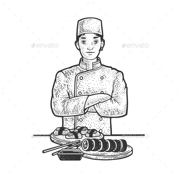 Sushi Chef Sketch Vector Illustration - People Characters