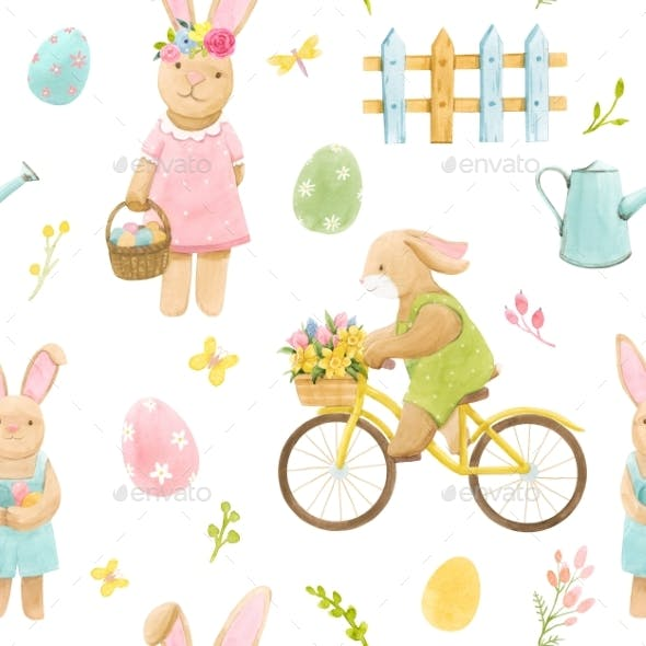 Beautiful Seamless Pattern with Watercolor Cute