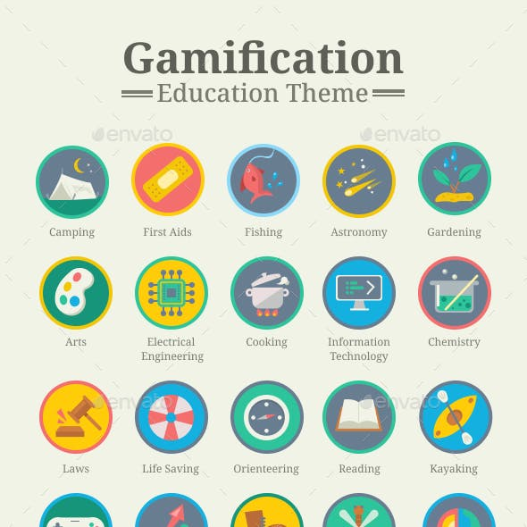 Gamification Icon Pack - Education Theme