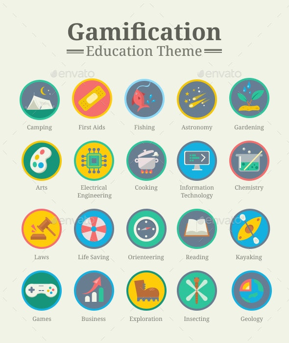 Gamification Icon Pack - Education Theme - Web Icons