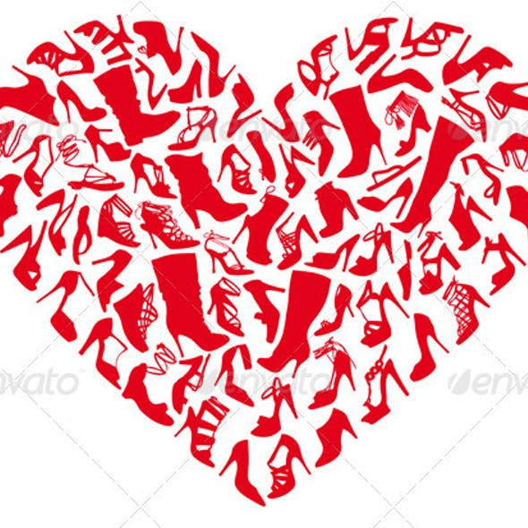Red Heart Shoes, Vector