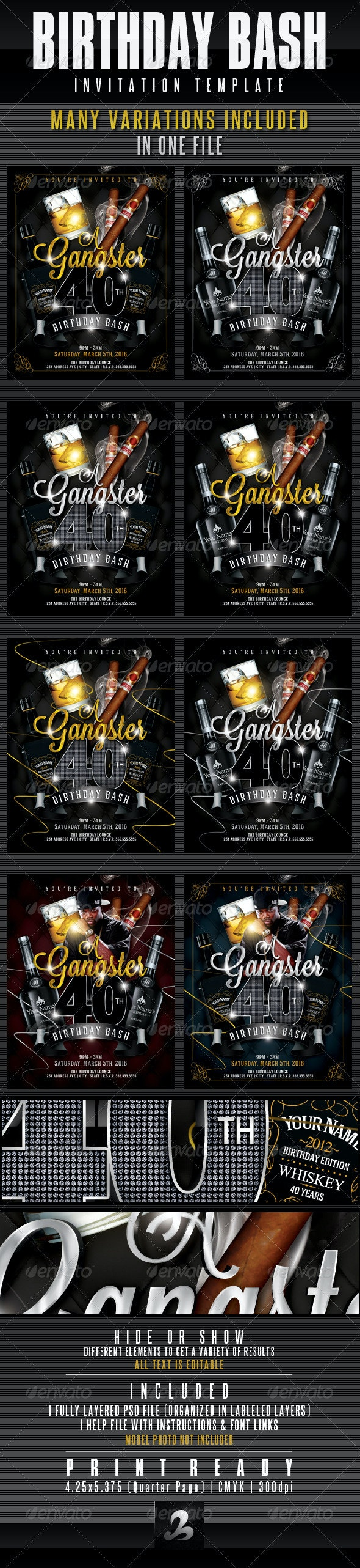 Birthday Invitation Template - Gangster Style Pt.1 - Invitations Cards & Invites