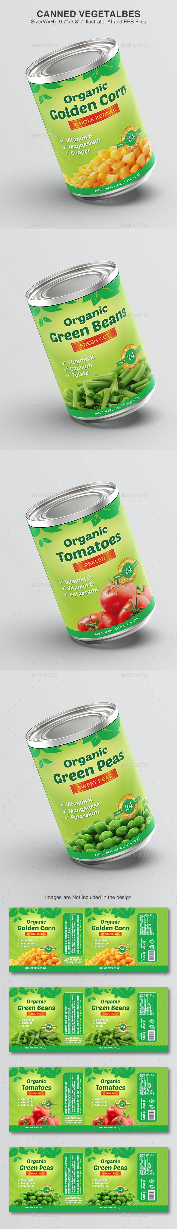 Canned Vegetables Template - Packaging Print Templates