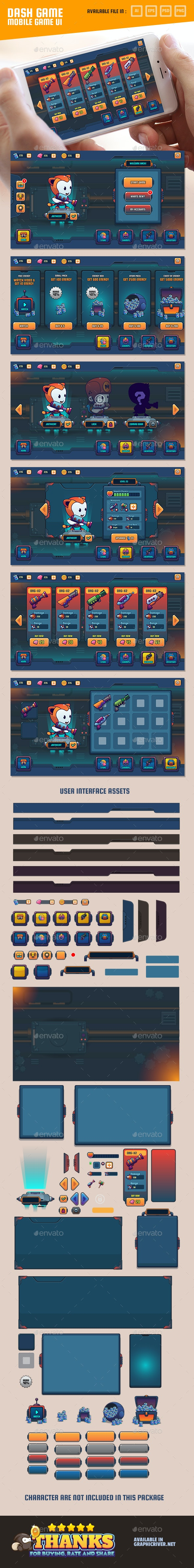 Mobile Game UI - User Interfaces Game Assets