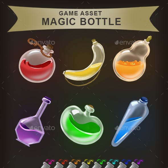 Game Assets: Magic Bottle and Test Tubes