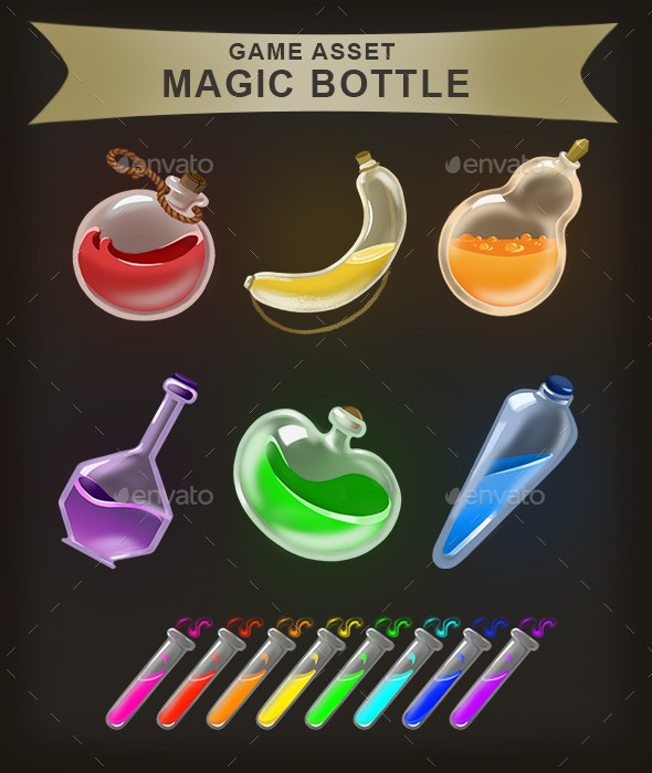 Game Assets: Magic Bottle and Test Tubes - Miscellaneous Game Assets