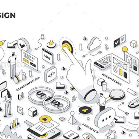 UX/UI Design Isometric Illustration