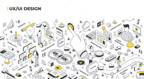 UX/UI Design Isometric Illustration - Computers Technology