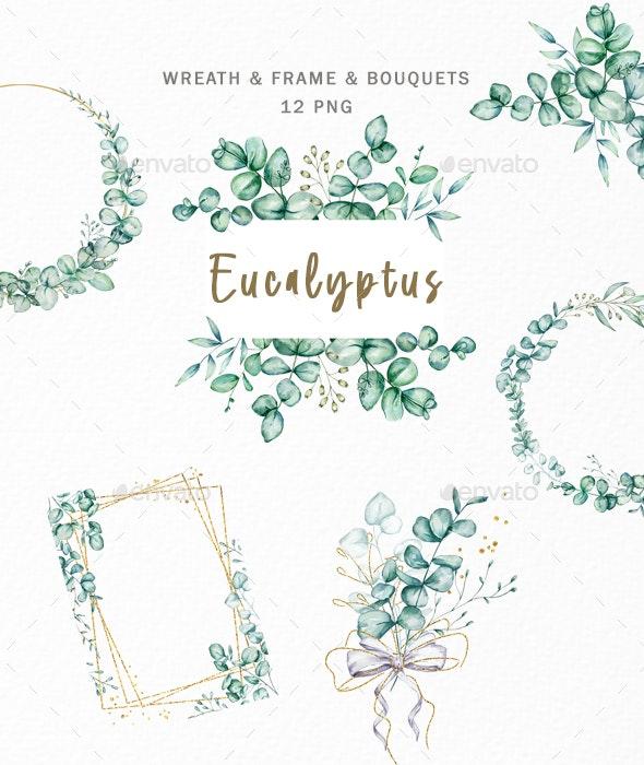 Watercolor Eucalyptus Wreath Frame Clipart - Illustrations Graphics