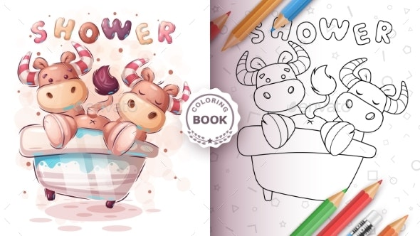 Ox Bull in Bathroom  Coloring Book - Animals Characters