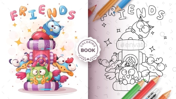 Friends Bird  Coloring Page - Animals Characters