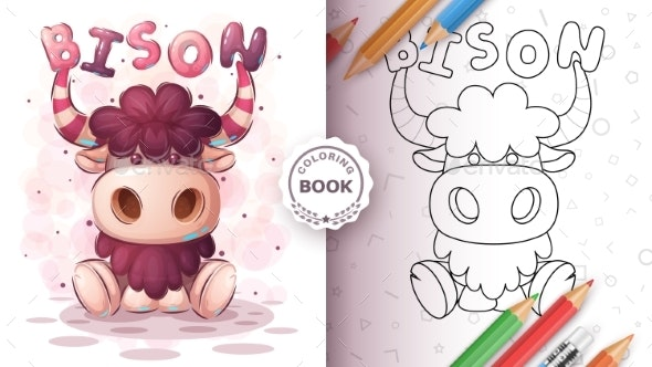 Teddy Bison Animal Coloring Book - Animals Characters