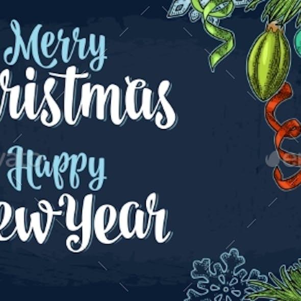 Poster Horizontal Merry Christmas Happy New Year