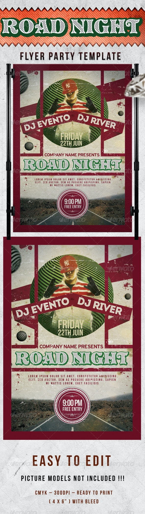 Road Night Party Flyer Template - Events Flyers