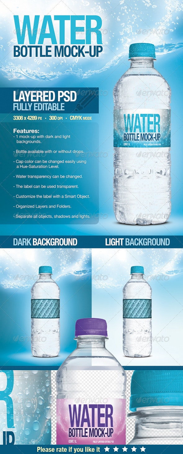 Fresh Water Bottle Mock-Up - Food and Drink Packaging