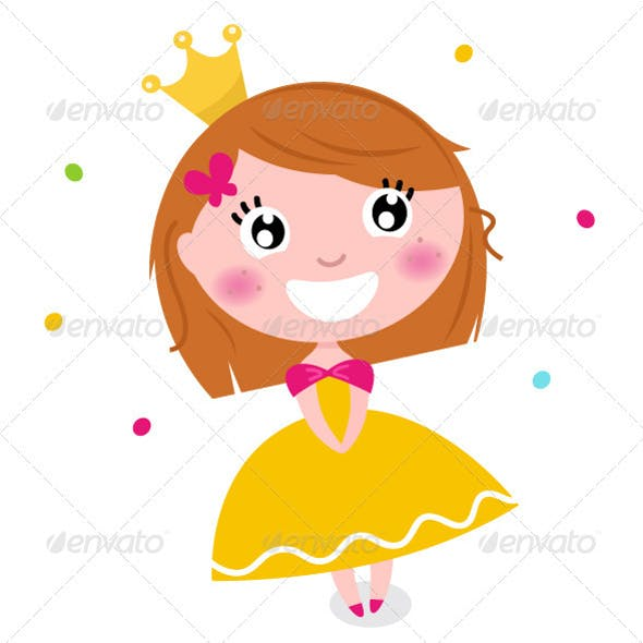 Cute Princess in yellow dress isolated on white