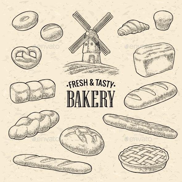 Set of Bread - Food Objects