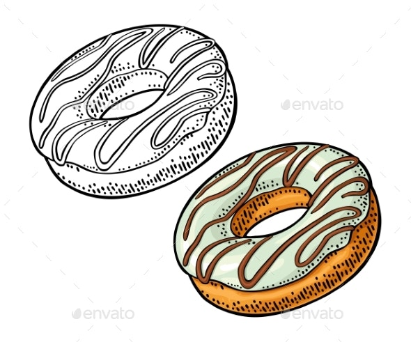 Donut with White Icing and Brown Stripes - Food Objects