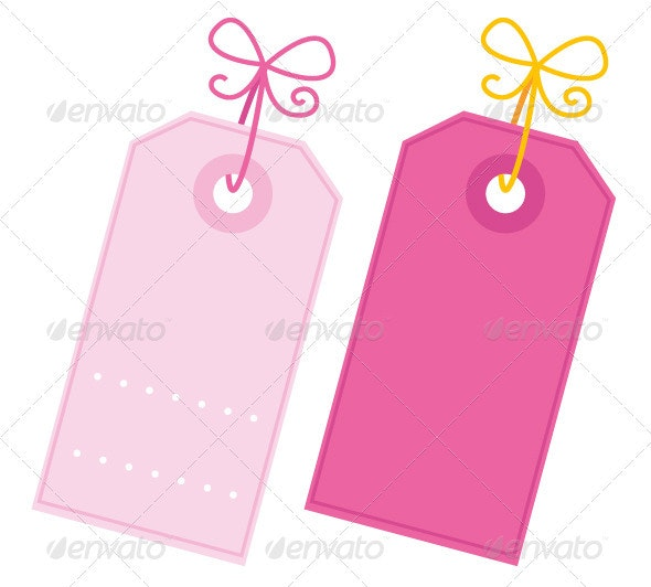 Valentine blank pink tags set isolated on white - Borders Decorative