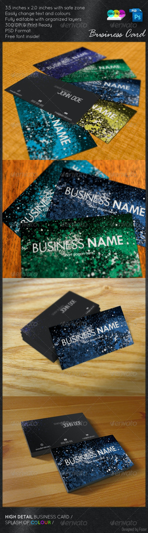 Splash of Colour - Grunge Business Cards