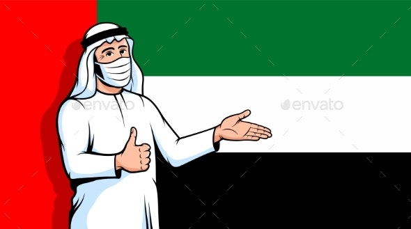 Arab Man in Fase Mask Thumbs Up on UAE Flag - Health/Medicine Conceptual