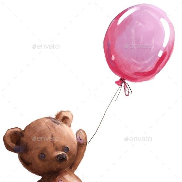 Cute Cartoon Teddy Bear with Pink Balloon
