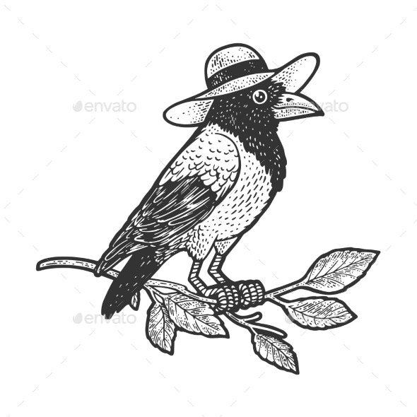 Crow in Hat Sketch Vector Illustration - Animals Characters