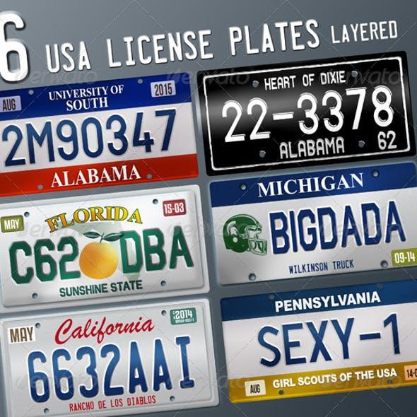 6 Layered USA License Plates