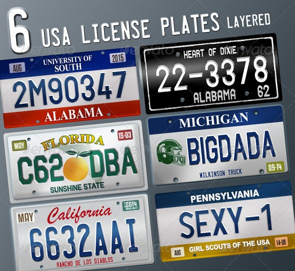 6 Layered USA License Plates - Miscellaneous Product Mock-Ups