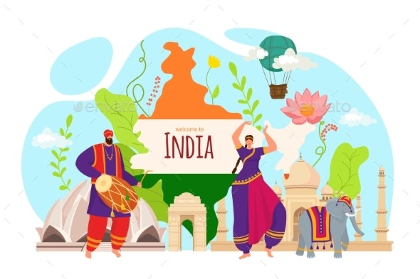 Tourism in India People Travel in Asia Culture - Travel Conceptual